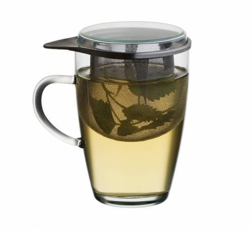 Mug de infusi n de vidrio t rmico con filtro y tapa for Tazas de te con tapa
