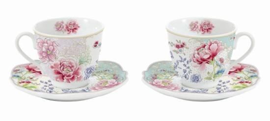 Juego de 2 tazas de caf con platos decorado con flores chinas for Juego de tazas de te