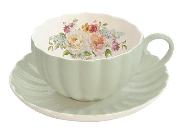 Taza de te con plato jard n royal verde for Tazas para te