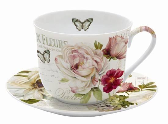 Taza jumbo con plato flores tazas de desayuno decoradas for Juego de tazas de te