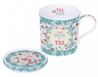 Mug con tapa decorado tea time azul