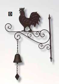 Campana con gallo para la pared metal