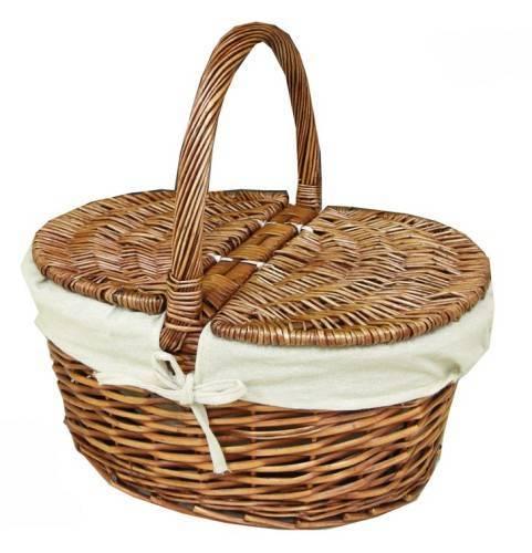 Cesta de mimbre para picnic forrada con tela - Cestos de minbre ...