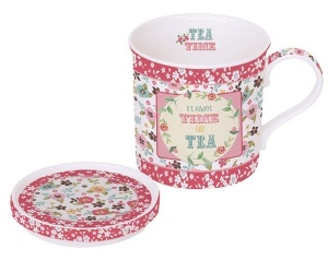 Mug con tapa decorado tea time rosa