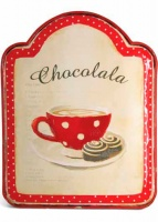 Placa de pared metal chocolate rojo