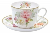 Taza jumbo con plato decorado romantic lace